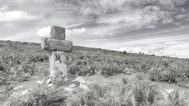 A granite cross on a hill side on Bodmin Moor near Altarnun in Cornwall